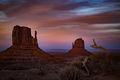 monument valley, red rock, indian land, navajo, sandstone, sunset, spring, clouds, alpenglow, az, arizona, mittens,