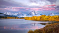grand teton national park, tetons, snake river, snake, river, mountains, trees, water, color, aspens, sunrise, clouds, flora, predawn