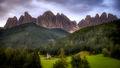italy, europe, dolomites, dolomite, mountains, chapel, san giovanni, santa magdalena, val de funes, val de funis, sunrise, valleys, alps, alpine, fall, trees, flora, cows, village, clouds