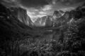 Tunnel View Winter Sunrise, BW