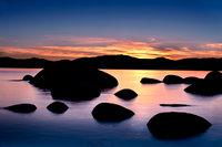 eastern sierra, sierra, clouds,  spring, ca, california, lake tahoe, north shore, boulders, rocks, bonsai rock, water, stars, sunset, mountains