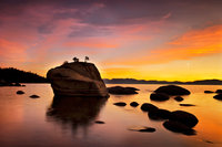 eastern sierra, sierra, clouds, sunset,  spring, ca, california, lake tahoe, north shore, boulders, rocks, bonsai rock, water, stars, moon, moonrise, mountains