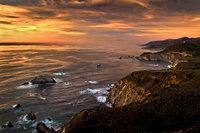 coast, coastal, water, pacific, big sur, sur, big, highway 1, hwy 1, ca, california,  sunset, twilight, ocean,  garrapata,  soberanes, beach, surf, waves, sea stacks, bixby bridge