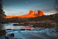 red rock crossing, cathedral rock, oak creek, sunset, sedona, az, arizona, southwest, water, reflections, red rock, moon, moonrise