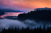 columbia river, columbia river gorge, sunrise, water, oregon, or, northwest, pacific