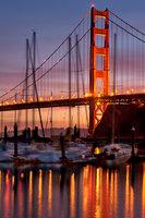 golden gate bridge, gate, ca, california, water, ocean, pacific, fort, cronkite, boats, sunrise, san francisco, sausalito, marina, reflections