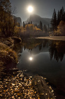 merced river, merced, river, yosemite, ca, california, twilight, sunset, reflections, stars, moon, moonrise, sierra, mountains, trees, water, fall, colors, half dome, half, dome, yosemite, landscape