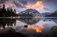 <p>tenaya lake, tenaya, lake, reflections, ca, california, sierra, mountains, sunset, clouds, water, high, country, trees</p>