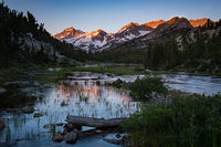 little lakes valley, bear spire, rock creek, sierra, eastern, mountains, reflections, sunrise, sunset, water, grasses, ca, california,