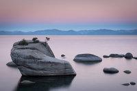 sierra, mountains, bonsai rock, lake tahoe, tahoe, landscape, water, sunrise,