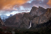 Yosemite, California, Ca, Sierra, valley, Yosemite national park,  el capitan, trees, sunset, Bridalveil falls, water, clouds, winter