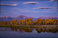 eastern sierra, sierra, aspens, bishop, fall, ca, california, trees, water, mountains, fall colors, fall colors, sunrise, farmers pond, clouds