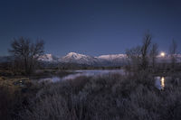 eastern sierra, mountains, sunrise bishop, ca, california, mountain light, winter, sierra, moon, moonset, water, owens river valley, owens, river