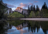 yosemite, national park, park, trees, sierra, california, ca, spring, merced, river, water, sunset, half dome, reflections