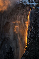 Yosemite, California, Ca, Sierra, valley, Yosemite national park,  el capitan, trees, sunset, horsetail, falls, water, clouds