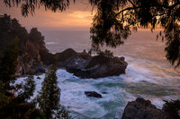 sunset, pacific, ocean, surf, waterfalls, water, coast, clouds, sea, seascape, big sur, julia pfeiffer burns, ca