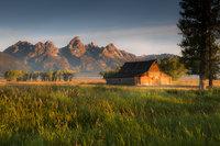 mountains, landscape, tetons, grand teton national park, snake river, sunset, snake, river, water, trees, moulton, barn