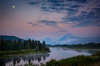 grand teton national park, tetons, snake river, snake, river, mountains, trees, water, color, aspens, sunset, moon, clouds, flora