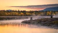 grand teton national park, tetons, snake river, snake, river, mountains, trees, water, color, aspens, clouds, fog, dawn, atmospherics, predawn, sunrise