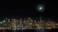 San francisco, moon, moon set, skyline, night, san francisco bay