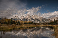 mountains, Wyoming, wy, Tetons, Grand Teton Park, landscape, Fall, trees, aspens, fall color, jackson, schwabaker landing, sunset snake river, moonlight, stars