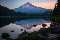 mt hood, cascades, mountains, flora, sunrise, trillium lake, columbia gorge