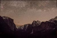 Yosemite, California, Ca, Sierra, valley, Yosemite national park,  el capitan, trees, sunset, Bridalveil falls, water, clouds, winter, tunnel view, predawn stars
