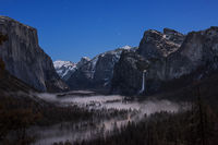 Yosemite, California, Ca, Sierra, valley, Yosemite national park,  el capitan, trees, sunset, twilight, stars, el capitan, half dome, bridalveil, falls, fog, valley