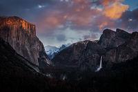 Yosemite, California, Ca, Sierra, valley, Yosemite national park,  el capitan, trees, sunset, tunnel view,  falls, water, clouds