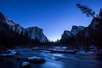 Yosemite National Park, yosemite, ca, trees, sierra, winter, water, ice, frost, merced, merced river, snow, mountains, valley view, valley, sunrise, dawn, stars