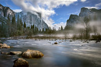 Yosemite, California, Ca, Sierra, valley, Yosemite national park,  el capitan, trees, sunset, falls, water, clouds, stars, merced, valley view