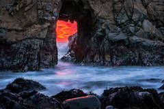 pfeiffer, state, park, coast, coastal, water, pacific, big sur, sur, big, sunset, twilight, surf, waves, beach, highway 1, hwy 1, ca, california, arch, rock, sea stack,