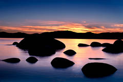 eastern sierra, sierra, clouds,  spring, ca, california, lake tahoe, north shore, boulders, rocks, bonsai rock, water, stars, sunset, mountains