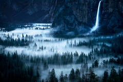 landscape, tunnel view, atmospherics, bridalveil falls, waterfalls, water, yosemite, mountains, sierra, fog, trees, ca, california, tunnel view, dawn, predawn,