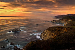 coast, coastal, water, pacific, big sur, sur, big, highway 1, hwy 1, ca, california,  sunset, twilight, ocean,  garrapata,  soberanes, beach, surf, waves, sea stacks, bixby bridge