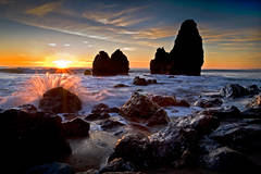 rodeo beach, sea stacks, marin headlands, beach, sunset, water, ocean, pacific, ca, california