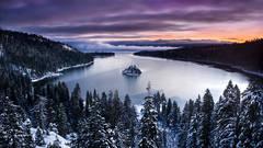 emerald bay, lake tahoe, water, pines, ca, california, forest, sierra, eastern, trees, sunrise, dawn, mountains