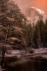 yosemite, snow, half dome, winter, merced, river, water, sunset, mountains, sierra, ca, california, landscape, twilight, trees, atmospherics