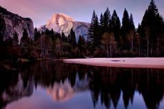 yosemite, fall colors, valley view, sunrise, el cap merced, fall, landscape, sierra, merced, river, water, twilight