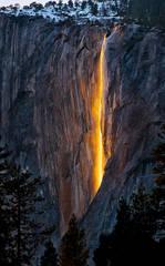 yosemite, horsetail falls, el capitan, sunset, light, mountains, sierra, water, waterfalls, ca, california, landscape, atmospherics