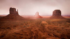 monument valley, southwest, sunrise, AZ, UT, arizona, utah, indian land, mountains, desert, mittens, merrick rock, fog