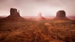 monument valley, southwest, sunrise, AZ, UT, arizona, utah, indian land, mountains, desert, mittens, merrick rock, fog