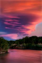 eastern sierra, sierra, fall, fall color, ca, california, trees, sunset, clouds, lenticular, bishop, water, owens river