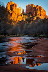 red rock crossing, cathedral rock, oak creek, sunset, sedona, az, arizona, southwest, water, reflections, red rock