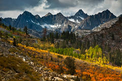 eastern sierra, sierra, fall, fall color, ca, california, trees, sunset, aspens, lake sabrina, mountains