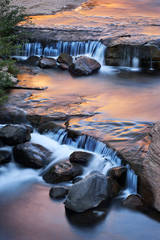 slide rock, oak creek, sunrise, sedona, az, arizona, southwest, water, waterfall
