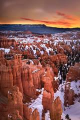 bryce national park, bryce hoodoos, sunset point, winter, southwest, sunrise, AZ, UT, arizona, utah, indian land, mountains, desert