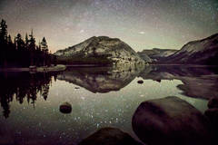 yosemite, tenaya lake, stars, milky way, water, mountains, sierra, ca, night skies, california, high country, reflections