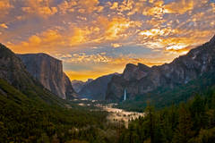 landscape, yosemite, tunnel view, bridalveil falls, winter, clearing storm, mountains, sierra, half dome, water, sunrise, bridalveil falls, ca, california, waterfalls, clouds, fog, atmospherics