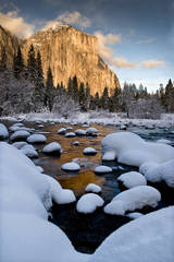 merced river, merced, river, yosemite, ca, california, winter, reflections, snow, valley view, valley, view, sunset, el capitan, sierra, mountains, trees, water, landscape